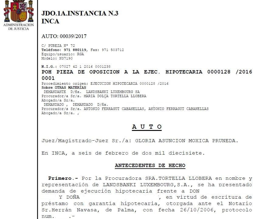 Hipoteca Landsbanki: inicio de la sentencia