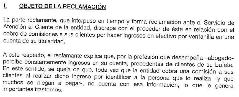 Objeto de la reclamación por comisión de ingreso en efectivo