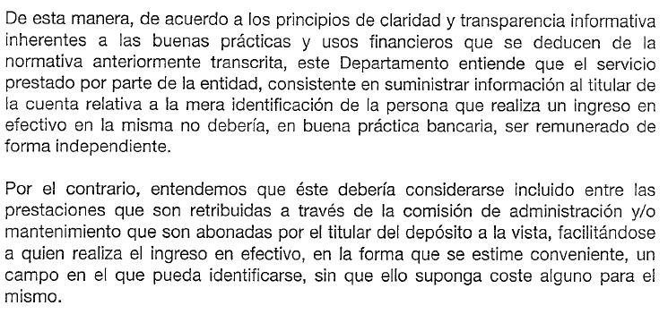 Comisión por ingreso de efectivo en el Banco Santander
