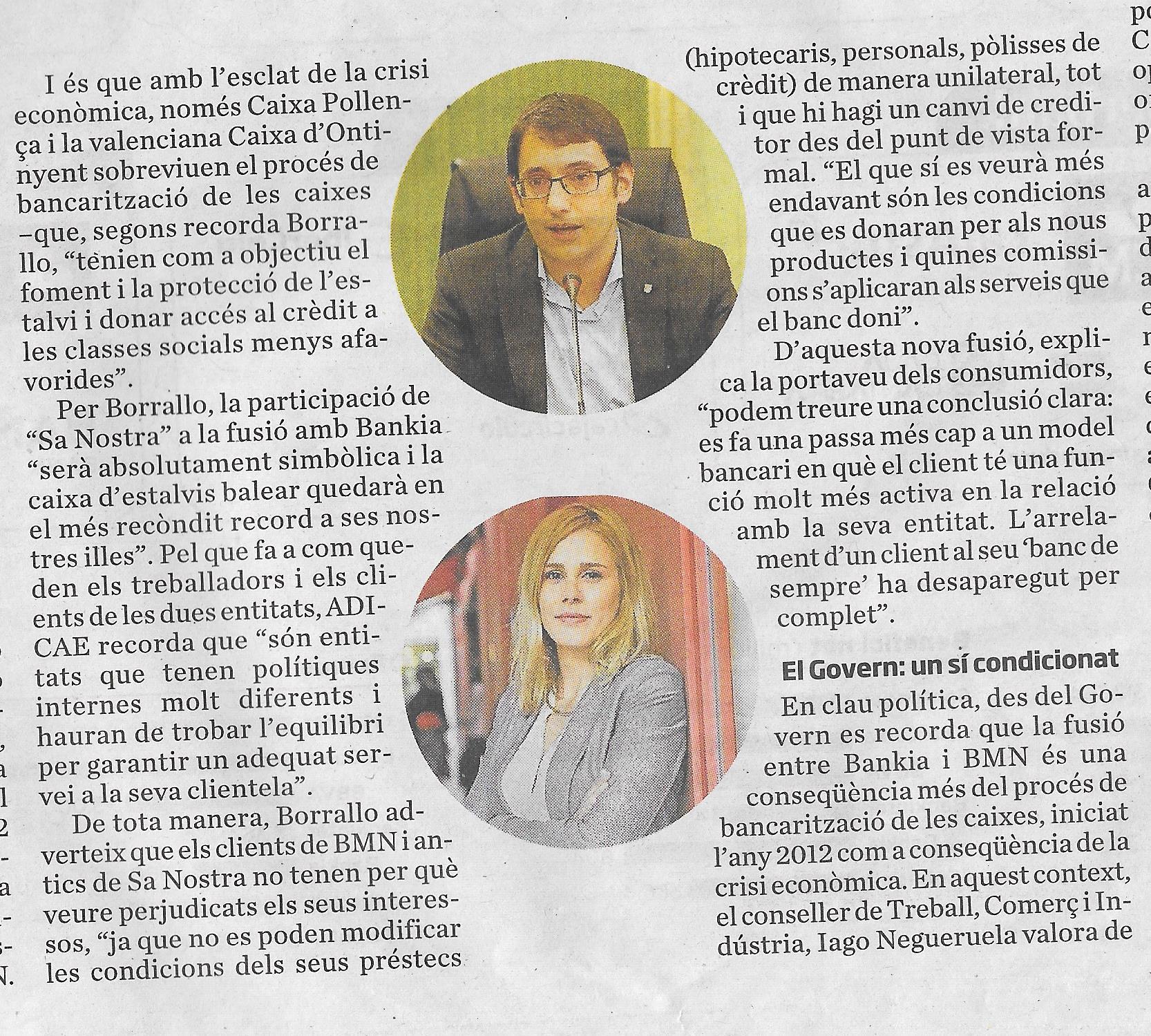 Fragment d'article a l'Ara Balears sobre Sa Nostra amb declaracions de Cristina Borrallo.