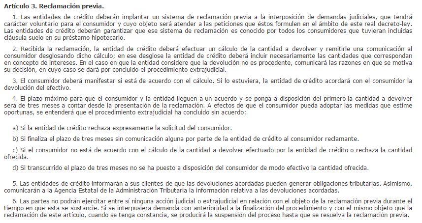 Art. 3 reclamación cláusula suelo