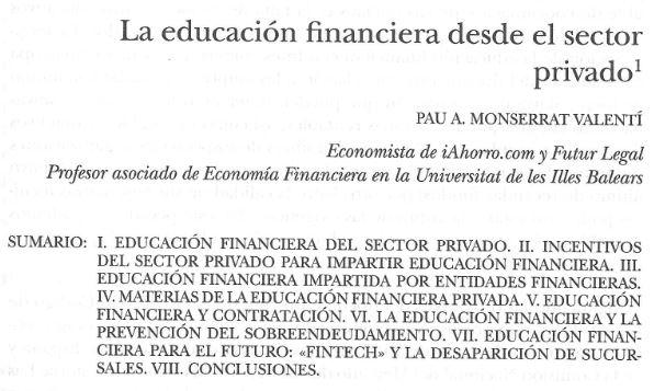 Catítulo de Pau A. Monserrat La educación financiera desde el sector privado