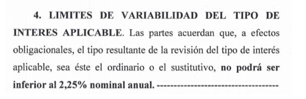 Fragmento de la cláusula suelo de Oficina Directa