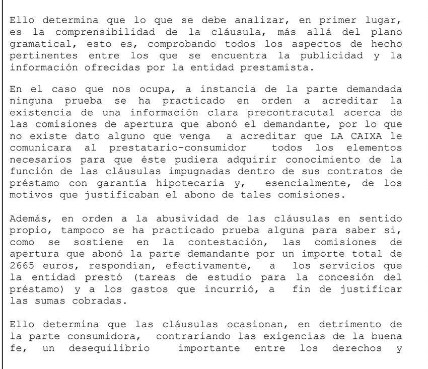 Fragmento de Sentencia comisión de apertura