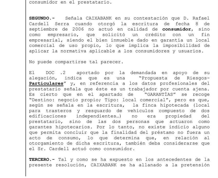 Fragmento de la Sentencia comisión de apertura y gastos
